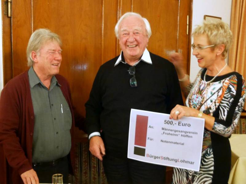 "BürgerStiftungLohmar unterstützt den Männergesangverein ""Frohsinn"" Höffen Quelle: BürgerStiftungLohmar"