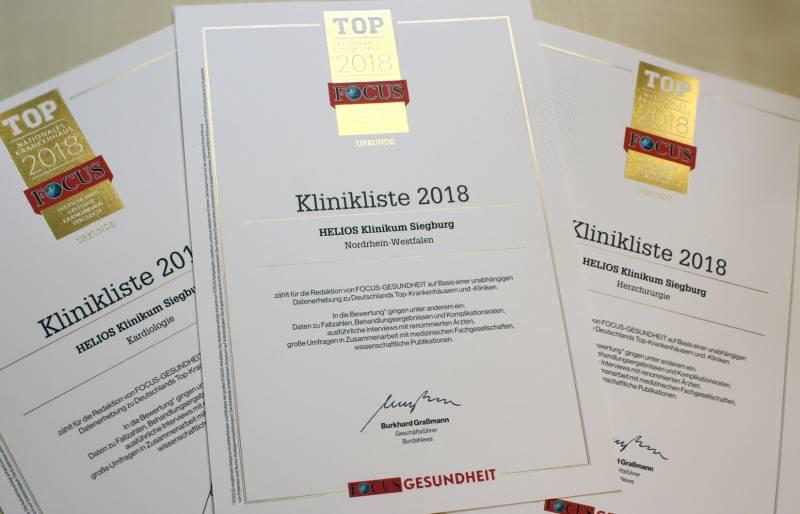 Helios Klinikum Siegburg erneut als Top-Klinik ausgezeichnet Quelle: Helios Klinikum Siegburg