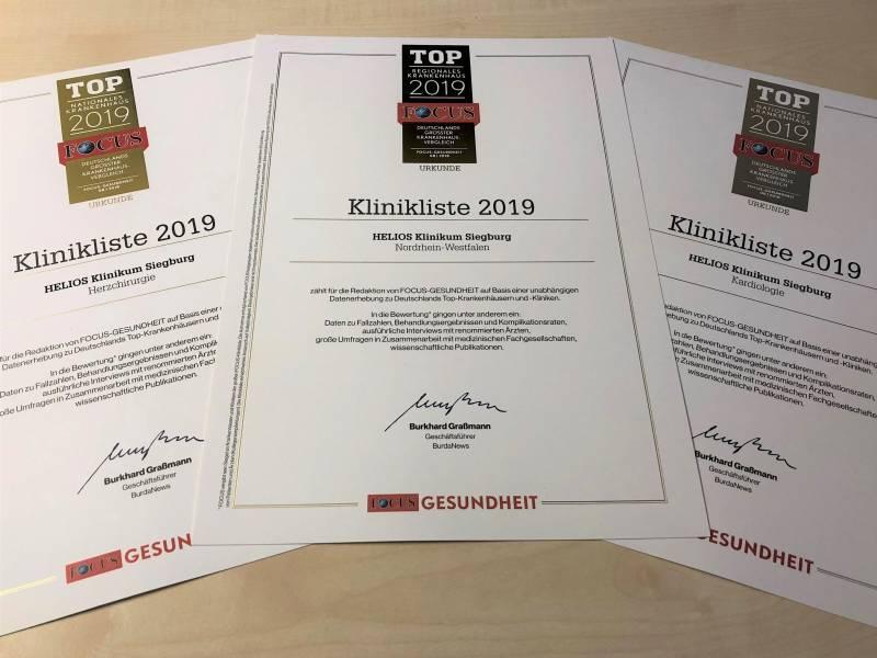 Bestnoten: Helios Klinikum Siegburg erneut als Top-Krankenhaus ausgezeichnet Quelle: Helios Klinikum Siegburg